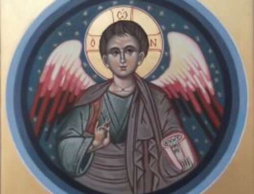Den Hellige Stilhed – Kristus Englen Malet til A`liyah Tutu Oldebarn til Desmond Tutu Str. 40 x 40 cm